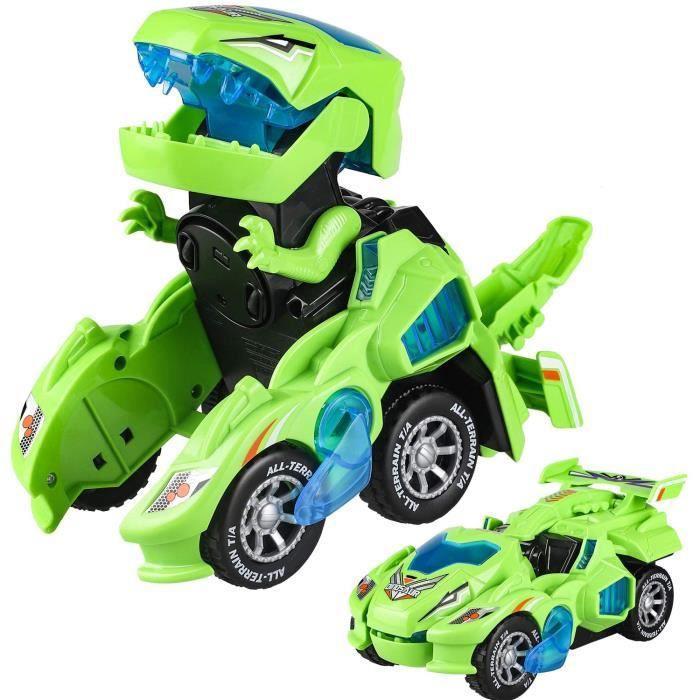 Transformer Dinosaure Jouet Enfant,Jeux Transformable 2 en 1 Switch and Go Dino avec Lumière Musique Garcon Fille 4 à 10 Ans - Vert
