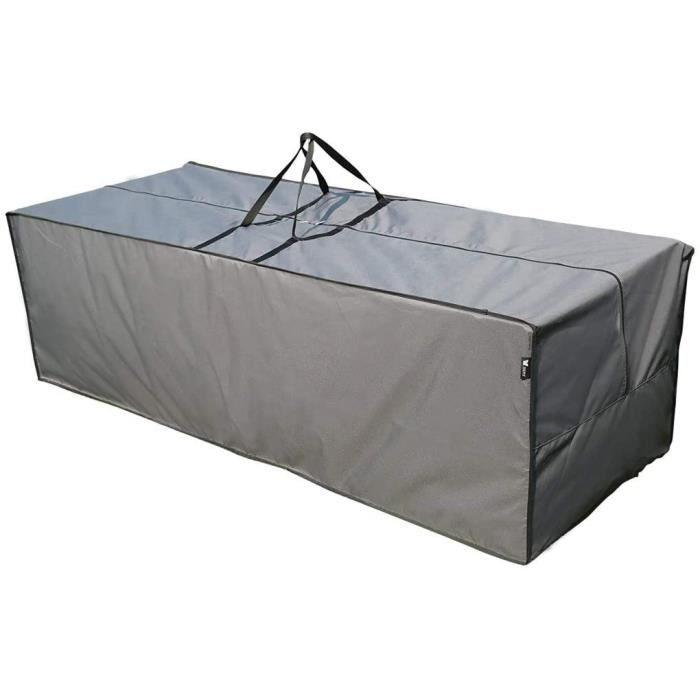 Chaise Longue SORARA Sac de Rangement Hydrofuge pour Coussins Salon de Jardin - Gris - 200 x 75 x 60 cm19