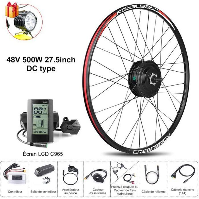 BAFANG 8FUN Kit de Moteur roue avant 48V 500W 27.5- avec Écran LCD C965 pour Vélo à assistance électrique