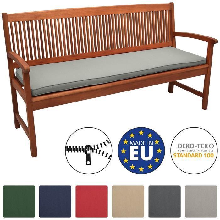 Beautissu Coussin Banc Banquette Loft BK 150x48x5 cm - Gris clair - Jardin Terrasse Balcon Extérieur - Haute qualité