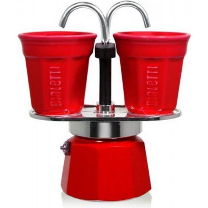 Bialetti - cafetière italienne + 2 tasses bicchierini rouge - 0006190