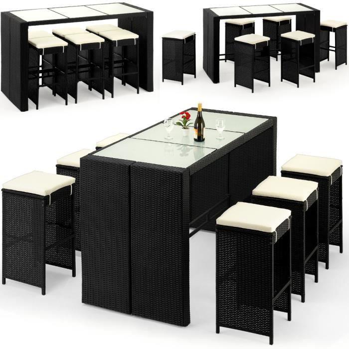 Deuba - Bar de jardin 6+1 • polyrotin noir • coussins inclus • plateau de table en verre - Ensemble table et chaises, terrasse