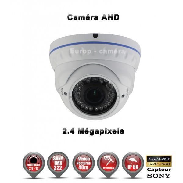 Dôme AHD Anti-vandal FULL HD 1080P 2.4MP Capteur 1-2.7' SONY IMX322 IR 35m étanche réf: EC-AHDD30FHDB - caméra surveillance -