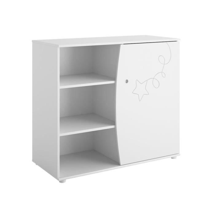 Commode 1 porte et 4 étagères décor blanc étoile cerf-volant ADELE - Sans plan à langer