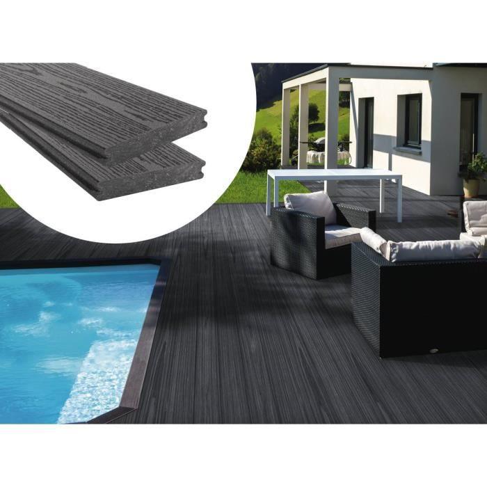 Lot de 3 lames de terrasse composite co-extrusion - Long: 2,4m - Gris