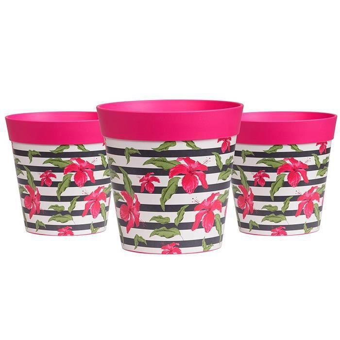 Hum Flowerpots Ensemble De 3 Pots De Fleurs Colorés Rose/Rayures