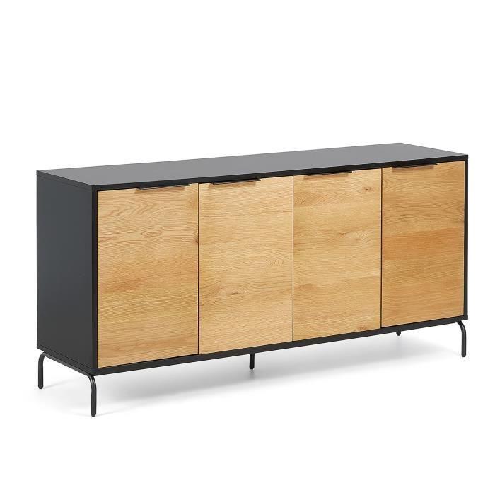 Buffet Savoi 165x80 cm bois métal noir