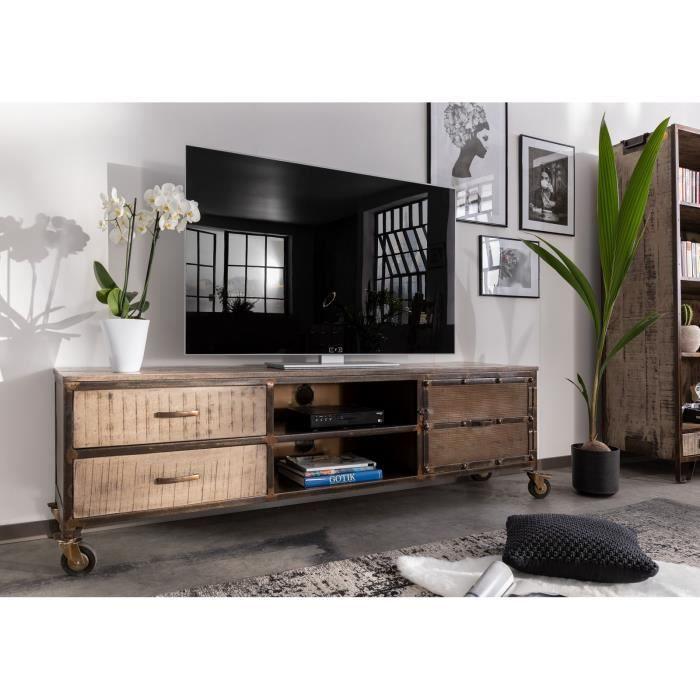 Meuble TV - Bois massif de manguier laqué (Marron) - Design industriel - HEAVY INDUSTRY #231