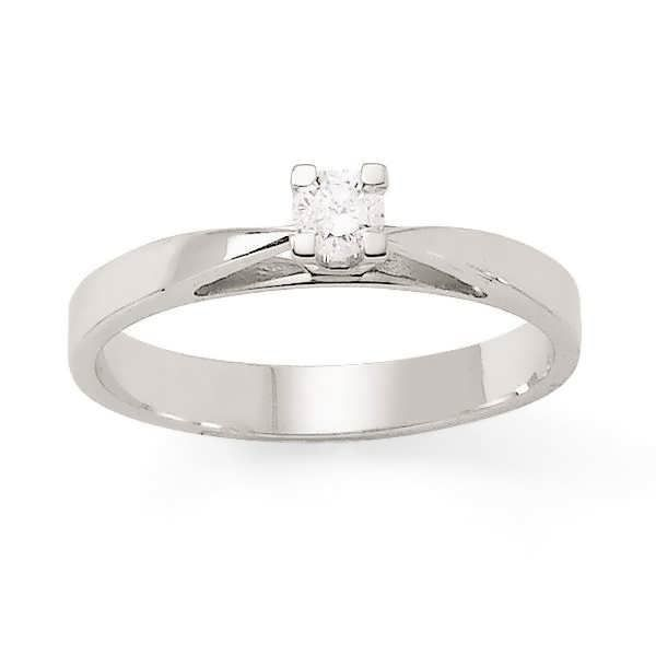 MONTE CARLO STAR Solitaire Or Blanc 375° et Diamants 0,10 ct Femme