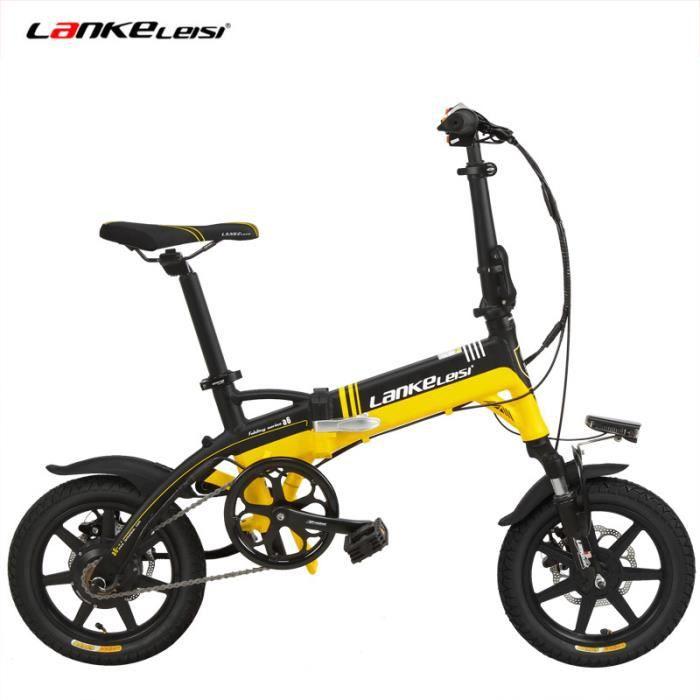 A6-Elite 14- Vélo pliant, vélo électrique de 240W, assistance de pédale à 5 niveaux, fourche à suspension (Noir jaune)