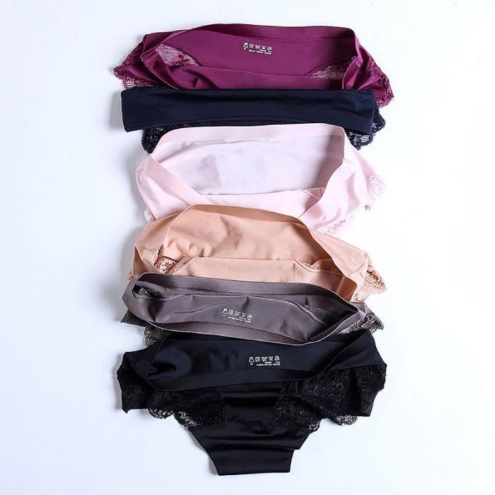 6 PCS culotte femmes dentelle sexy de luxe sans couture, plus la taille sous-vêtements de couleur unie taille basse