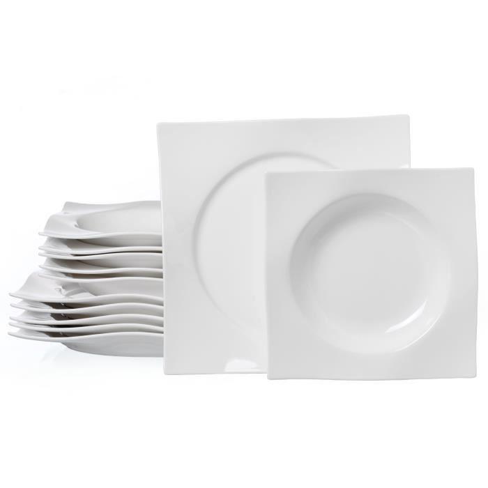 Service de Table Ritzenhoff & Breker Sinfonia 12 Pièces , Porcelaine de Qualité Supérieure, Compatible au Lave-Vaisselle, 582192