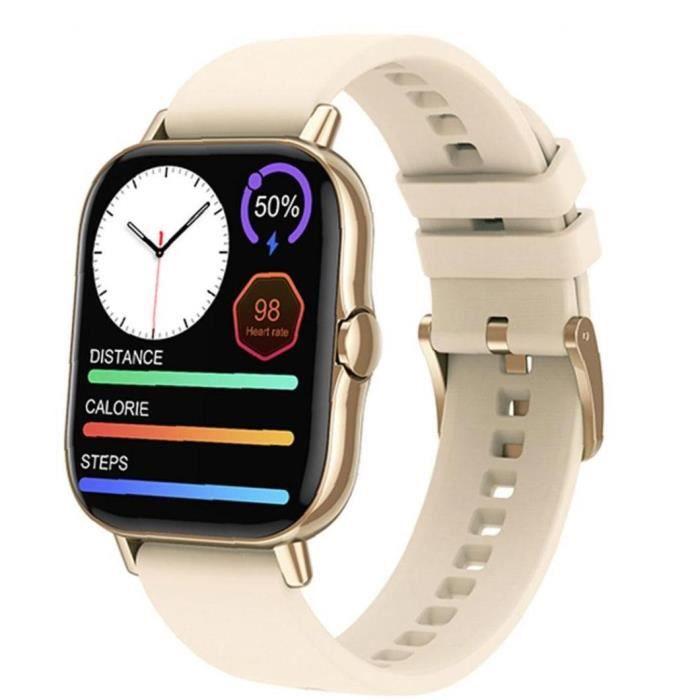 1.78inch Montre intelligent, or, écran tactile complet, suivi de l'activité Bluetooth, positionnement mobile, bracelet avec notifica