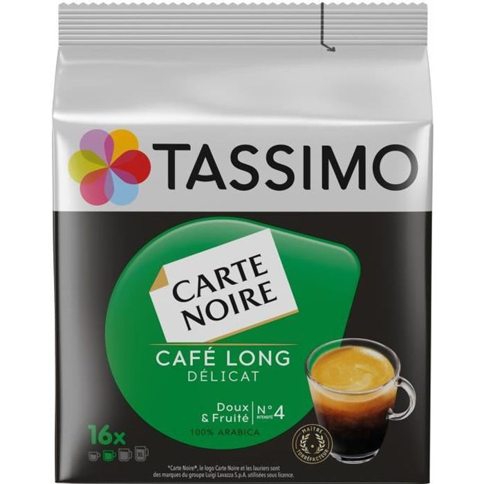 LOT DE 5 - TASSIMO carte noire n°4 long delicat Café dosettes - 16 dosettes