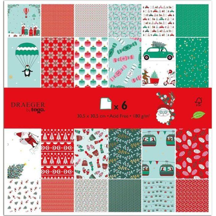 Papier Scrapbooking Toga - Noël et Pingouin - 30,5 x 30,5 cm - 6 pcs