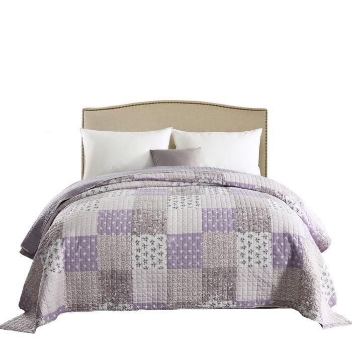 WOLTU Dessus de lit PatchworkCouvre-Lit matelassé Jeté de lit pour lit double, 150x200cm, Patchwork Violet clair