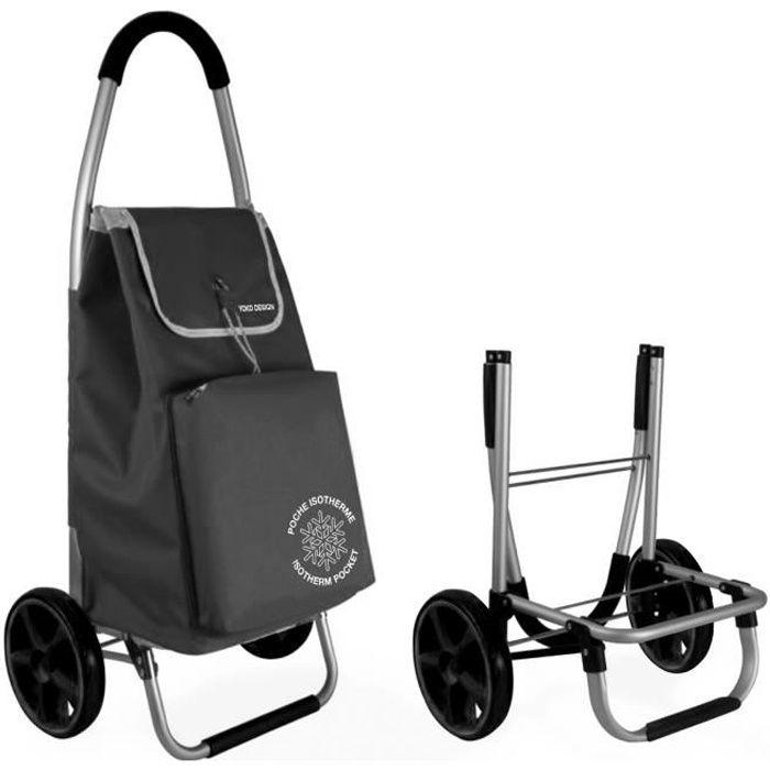 Chariot de marché Pliable avec poche Isotherme - Noir