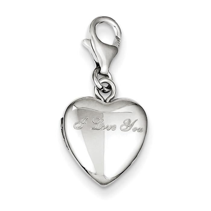Argent 925/1000–I Love You-Fermoir mousqueton 12 mm Coeur-Locket