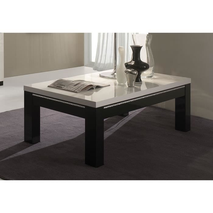 Table basse noir et blanc laqu avec strass design damia - Table basse rectangulaire design ...