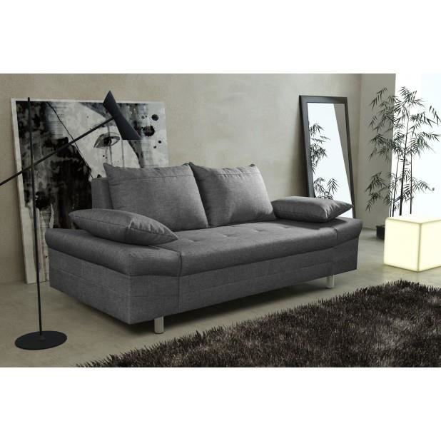 Canap bacau 3 places anthracite canap sofa divan achat for Divan 3 places elran
