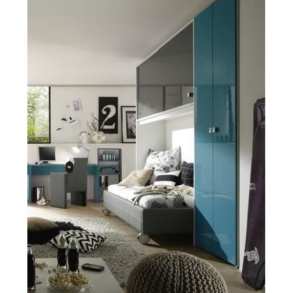 Chambre moderne gris bleu campus meuble house achat for Meuble chambre moderne