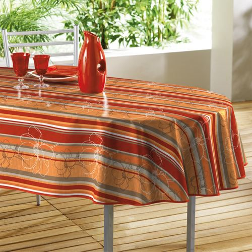 nappe toile cir e ovale lignato orange 140x240cm achat vente nappe de table cdiscount. Black Bedroom Furniture Sets. Home Design Ideas