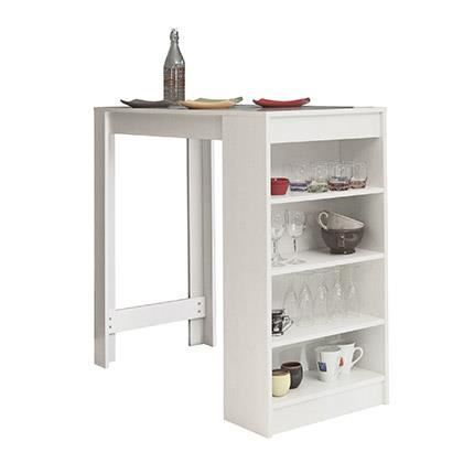 table bar avec rangements blanc achat vente table a. Black Bedroom Furniture Sets. Home Design Ideas