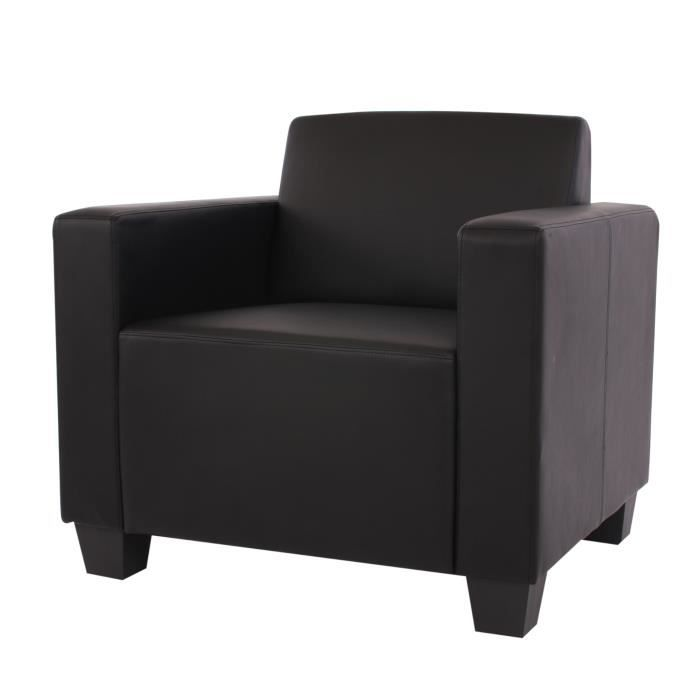 fauteuil salon club lounge lyon pu noir achat vente fauteuil noir cdiscount. Black Bedroom Furniture Sets. Home Design Ideas