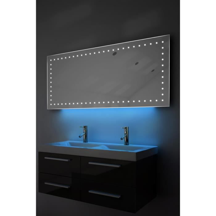 miroir de rasage salle de bain lumi re d ambiance del anti bu e capteur k175b bleu taille l. Black Bedroom Furniture Sets. Home Design Ideas