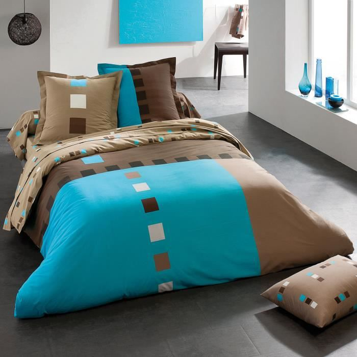 housse de couette turquoise et chocolat. Black Bedroom Furniture Sets. Home Design Ideas