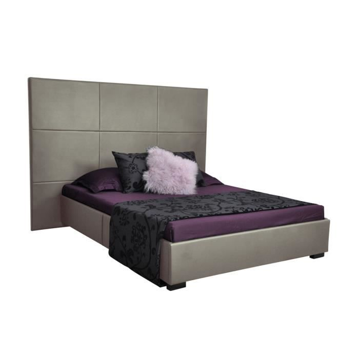lit coffre sommier 140x190 cm gris elora achat vente. Black Bedroom Furniture Sets. Home Design Ideas