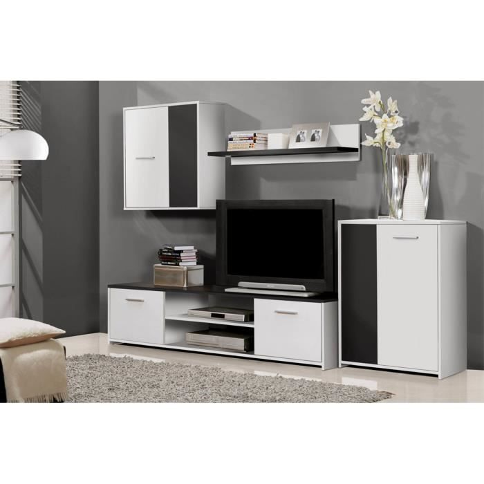 ensemble meuble tv noir et blanc vanille achat vente meuble tv ensemble meuble tv vanille. Black Bedroom Furniture Sets. Home Design Ideas