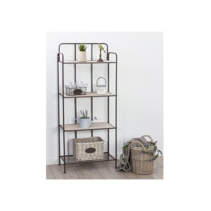 etagere industry 4 niveaux metal et bois achat vente. Black Bedroom Furniture Sets. Home Design Ideas
