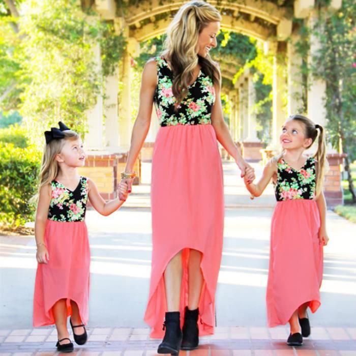 Robe Patchwork Enfants Enfants Manches Floral Assortis Vetements Famille Rose Parent Enfant 0234 Rose Achat Vente Robe Cdiscount