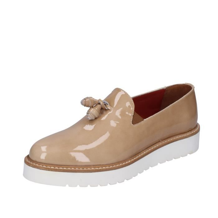 TRIVER FLIGHT Slip on Femme Cuir Beige
