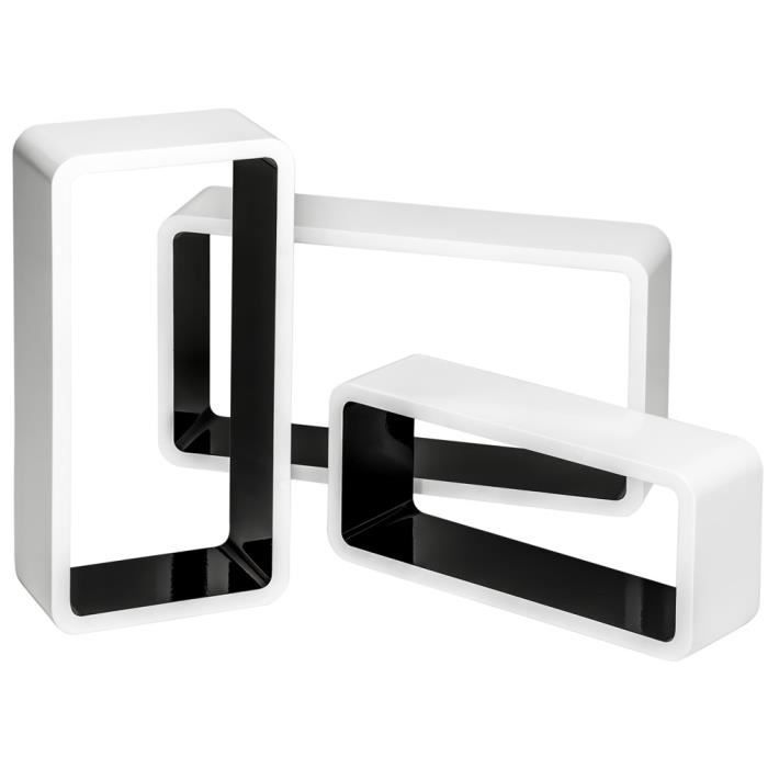 Tag re murale design tag re murale cube rectangulaire - Deco murale noir et blanc ...