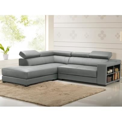 canap d 39 angle cuir leeds gris angle gauche achat vente canap sofa divan cdiscount. Black Bedroom Furniture Sets. Home Design Ideas