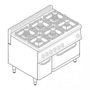 CUISINIÈRE - PIANO Piano de cuisson 6 feux sur four électrique ventil