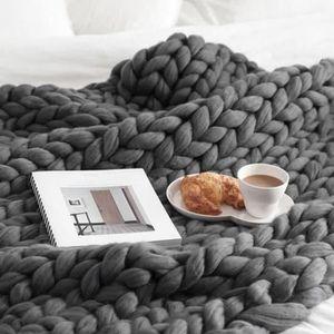 COUVERTURE ANIMAUX Main Chunky tricoté couverture laine épaisse volum