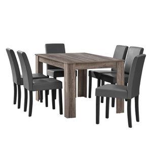 TABLE À MANGER COMPLÈTE en.casa Table à manger en chêne ancien avec 6 chai