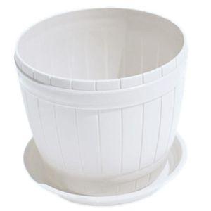 JARDINIÈRE - BAC A FLEUR Pot de Fleurs Plastiques Blanc Grande avec châssis