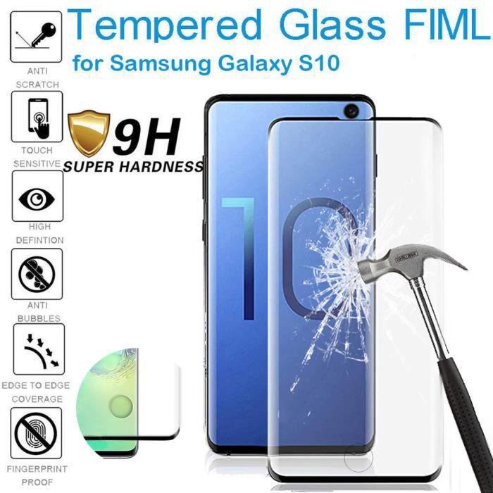 Reconnaissance des empreintes digitales d'écran en verre trempé HD pour Samsung Galaxy S10 6.1inch Housse de téléphone 7060