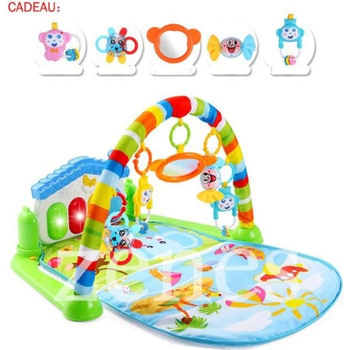 3 en 1 bébé Piano Tapis de jeu d'activités Musique et lumières 0-36 mois 4mode main libre bleu,cadeau pour bébé