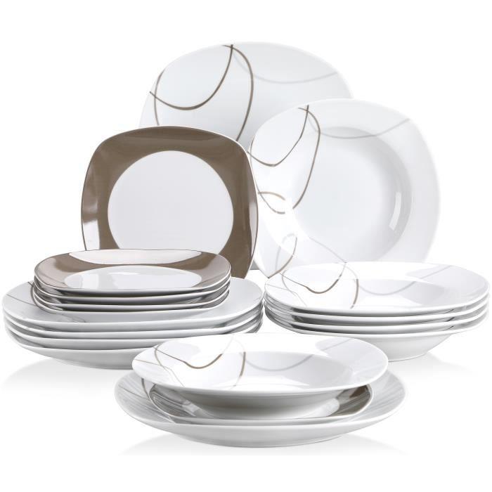 Veweet NIKITA 18pcs Assiettes Service de Table Pocelaine Assiettes Plates Assiette Creuse Assiette à Dessert Vaisselles