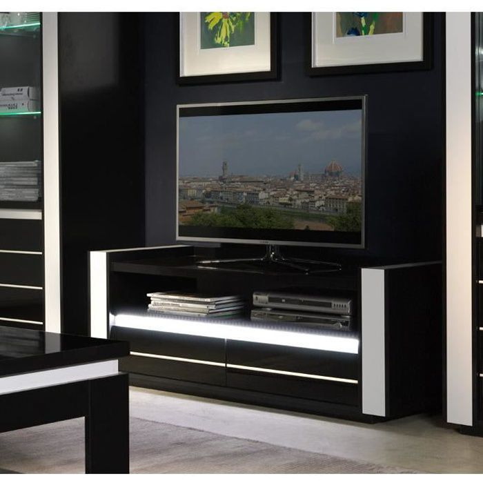 Meuble tv LINA noir et blanc laqué + LED