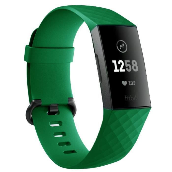 Bracelet Silicone pour FITBIT Charge 4 Taille S 95-103mm Poignet Sport (VERT)