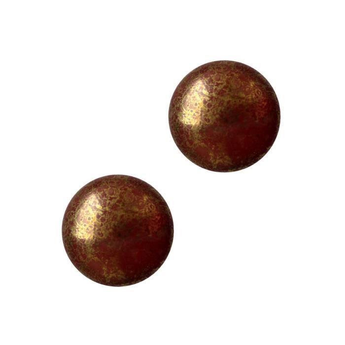 Les perles par Puca® : DIY - 2 Cabochons Rond en Verre 18mm - Choco Bronze