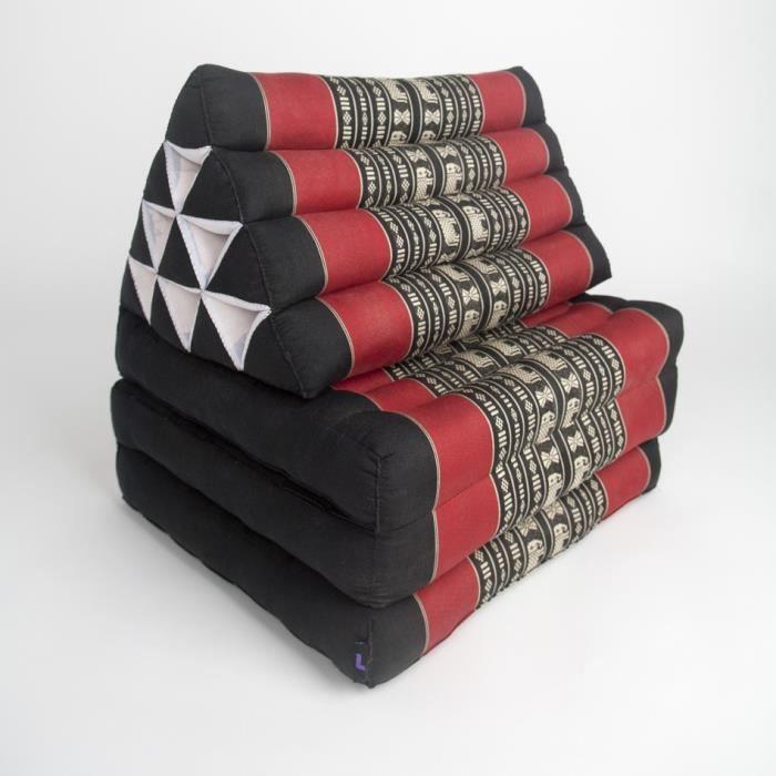 Matelas Thaï avec coussin triangulaire, 170x53x30 cm, Kapok, Noir Rouge