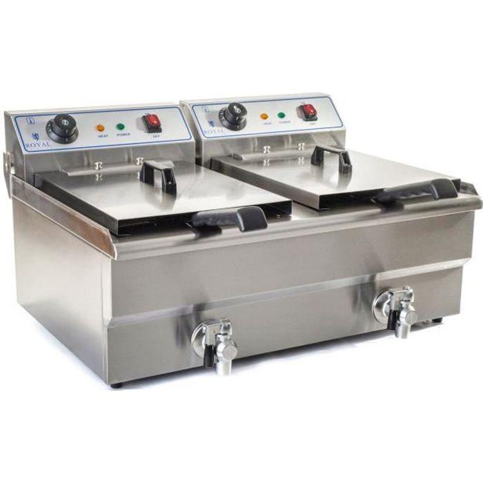 Friteuse avec robinet de vidange Royal Catering 2 prises électriques 2x16L 2x3.500W 230V 23x25x12cm Inox RCEF 16D