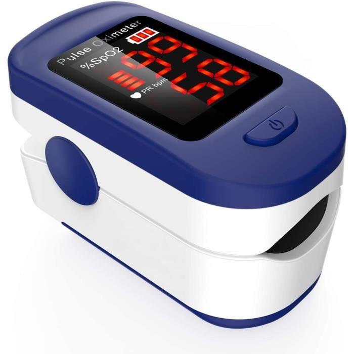 Oxymètre de Doigt Professionnel,Oxymètre de Pouls Électronique Numérique avec Moniteur de Fréquence Cardiaque-Ecran LED-Étui,Bleu